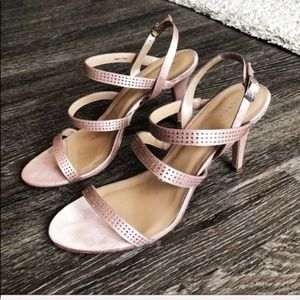 Style & Co Blush Metallic Shiny Sandal Heels Sz 10